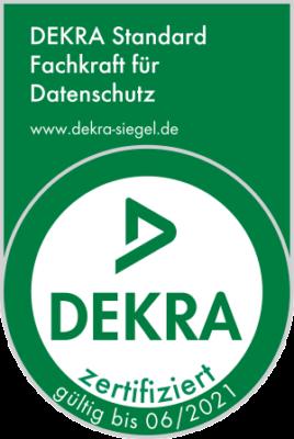 Siegel der DEKRA Certification GmbH Fachkraft für Datenschutz